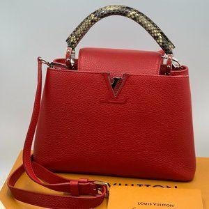 Louis Vuitton red Capucines BB Python handle bag